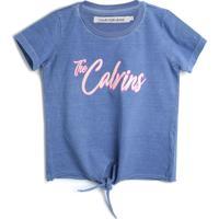 Blusa Calvin Klein Kids Menina Escrita Azul