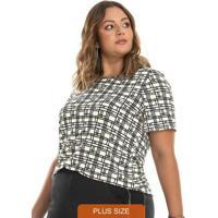 Blusa Estampada Feminina Rovitex Plus Size Bege