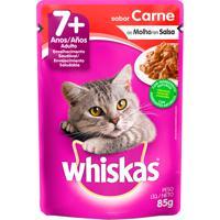 Ração Para Gatos Whiskas Adulto 7+ Anos Sachê 85G Sabor Carne Ao Molho