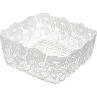 Cesta Plástica Lyor Impermeável Crochê Branca 19X19X9Cm - 28741