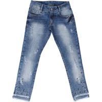 Calça Jeans Cropped Juvenil Para Menina - Azul