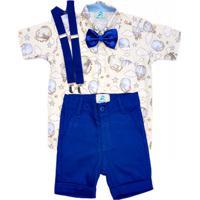 Roupa Festa Infantil Camisa Social Balões Com Gravata E Suspensorio