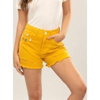 Shorts Hot Pant Califórnia Broche Amarelo Caramelo - Lez A Lez