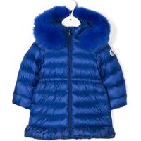 Moncler Kids Fur Hooded Coat - Azul
