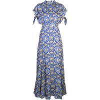Cynthia Rowley Vestido Talia Com Mangas Bufantes - Azul