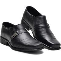 Sapato Social Couro Bico Fino Conforto Masculino - Masculino-Preto