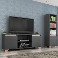 Sala De Estar Completa Para Tv Até 50 Polegadas Benevello 3 Portas 2041 Grafite - Quiditá Móveis