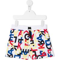 Karl Lagerfeld Kids Logo Printed Swim Shorts - Branco