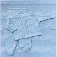 Saída De Maternidade Trança Menino - Azul