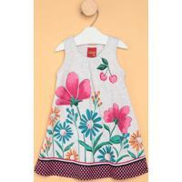 Vestido Floral- Cinza Claro & Rosakyly