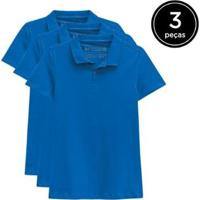 Kit 3 Camisas Polo Basicamente Feminino - Feminino-Azul Claro