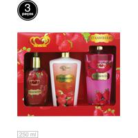 Kit 3Pçs Love Secret Loção Deo Coporal Sabon. Liq Body Splash Strawberry
