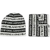 Emporio Armani Kids Conjunto Gorro E Cachecol Com Estampa De Logo - Preto
