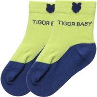 Meia Soquete Tigor T. Tigre Menino Verde/Azul