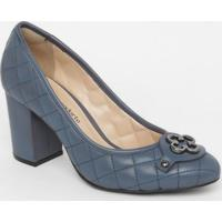 Sapato Em Couro Matelassê- Azul Escuro- Salto: 8Cmcapodarte