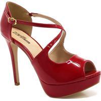 Sapato Peep Toe Zariff Shoes Salto Fino Vermelho