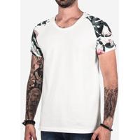 Camiseta Raglan Manga Floral Branca 102424