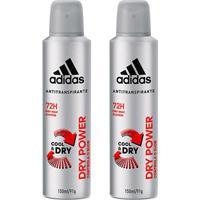 Kit 2 Desodorantes Adidas Cool & Care Dry Power Aerosol Masculino 150Ml - Masculino-Incolor