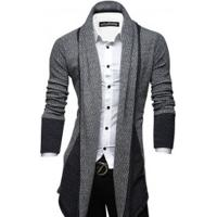 Cardigan Masculino Elegante Assimétrico Lapela - Cinza Claro