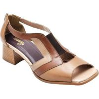 Sandália D&R Shoes Couro Feminina - Feminino-Caramelo