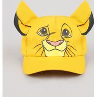 Boné Infantil Carnaval Simba O Rei Leão Aba Curva Com Orelhas Amarelo