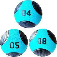 Kit 3 Medicine Ball Liveup Pro 4 5 E 8 Kg Bola De Peso Treino Funcional - Unissex