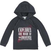 """Camiseta """"Explorers"""" Com Capuz- Cinza Escuro & Branca"""