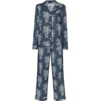 Desmond & Dempsey Pijama Howie Com Estampa De Abacaxi - Azul