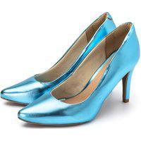 Sapato Feminino Scarpin Salto Alto Fino Em Azul Serenity Metalizado Lançamento