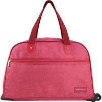 Bolsa De Viagem Com Rodinhas- Vermelha- 31X55X26Cm