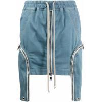 Rick Owens Drkshdw Saia Jeans Com Ajuste No Cós E Zíper - Azul