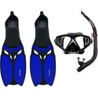 Kit De Mergulho Máscara+Respirador+Nadadeiras Cetus Shark Fun - Unissex