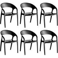 Conjunto Com 6 Cadeiras De Plástico Glass Preto