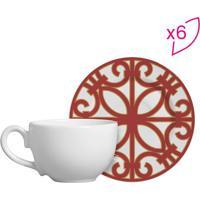 Conjunto De Xícaras De Chá Flat Arabescos- Branco & Vermscalla Cerâmica