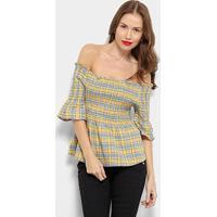 Blusa Xadrez Top Moda Ombro A Ombro Feminina - Feminino-Amarelo+Azul