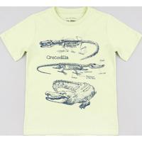 Camiseta Infantil Jacaré Manga Curta Verde Claro