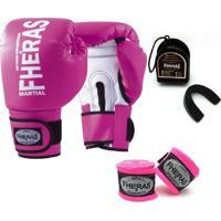 Kit Boxe Muay Thai Fheras New Orion Luva + Bandagem Orion Rosa 007