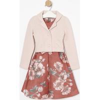 Vestido Floral + Casaco- Rosa & Vermelho- Bela Fiollbela Fiolla