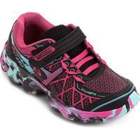 Tênis Infantil No Stress Running Velcro - Feminino-Preto+Pink