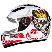 Capacete Mixs Helmets Fokker Skull - Branco/Vermelho
