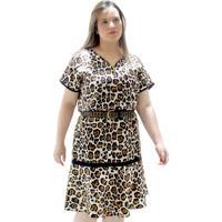 Vestido Blusadinho Decote Zipper Plus Size Bege