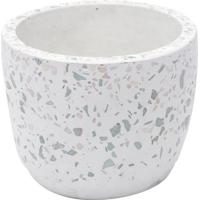 Cachepot Abstrato Granilite- Branco & Rosa- 9Xã˜11Cm