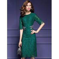 Vestido De Renda Elegante Manga Curta - Verde G