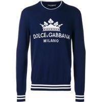 Dolce & Gabbana Suéter De Cashmere Com Logo De Coroa - Azul