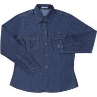 Camisa Jeans Feminina Country & Cia - Feminino-Azul
