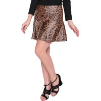 Saia Estilo Boutique Leopard Babados Onça