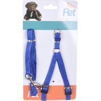 Peitoral Regulável Com Guia Para Passeio Azul - Meu Pet