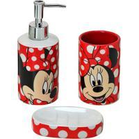 Jogo Para Banheiro Minnieâ® Dots- Branco & Vermelho- Mabruk