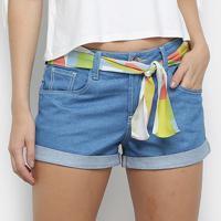 Shorts Jeans Coca-Cola Curto Com Faixa Feminino - Feminino-Azul Royal