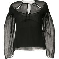 3.1 Phillip Lim Cutout Textured Silk Blouse - Preto